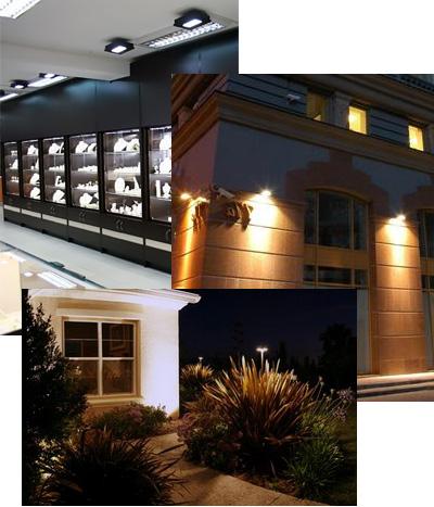 Освітлення галогенними лампами вітрин, клумб, фасадів.